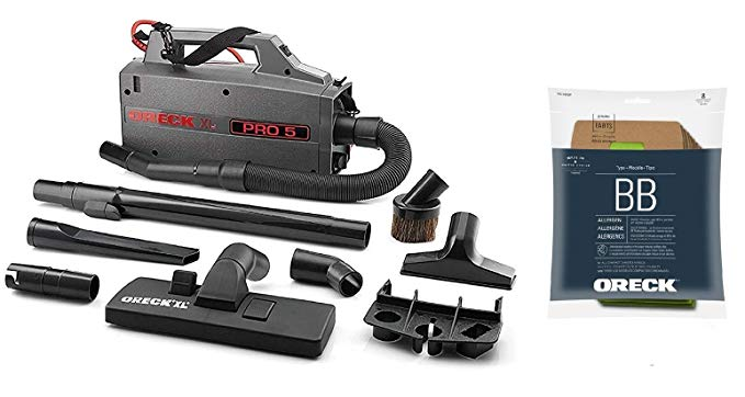 Oreck Commercial BB900DGR XL Pro 5 Super Compact Canister Vacuum, 30' Power Cord with 8 Genuine AK1BB8A Oreck Bags Bundle