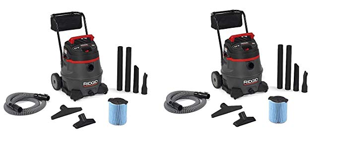 Ridgid 50348RID 50348 1400RV Wet/Dry Vacuum with Cart, 14 gal, Red (Pack of 2)