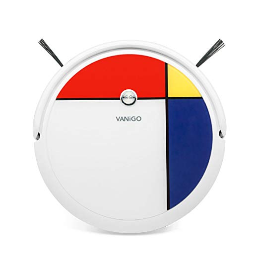 VANiGO Robot Vacuum Cleaner and MOP, with Mapping Navigation, 800ml Dustbin and 350ml Water Tank, 1400PA Strong Suction, Mondrian Design, Remote Control, for Pet Hair Thin Carpet and Hard Floor