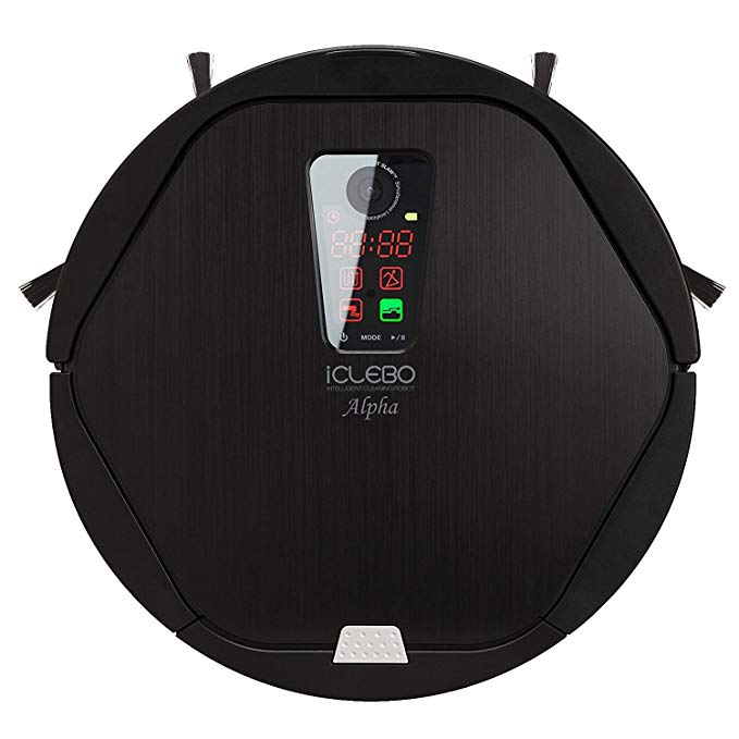 iClebo Alpha Robot Vacuum Wet Mop All-Surface Cleaner, Good for Carpet & Hardwood Floor, Self-Cleans with Advanced Navigation Remote Control Camera-Mapping Technology